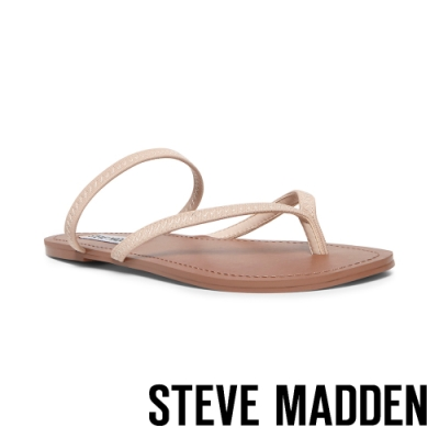 STEVE MADDEN-ENJOY 清涼一夏 精緻縫線鬆緊繞帶人字平底涼鞋-卡其