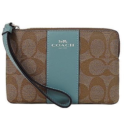 COACH 新款燙印馬車 PVC 直紋拉鍊手拿包(卡其礦綠)