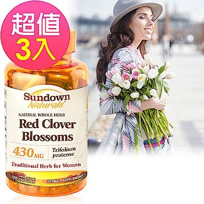 Sundown日落恩賜 高單位頂級紅花苜蓿膠囊x3瓶(100粒/瓶)