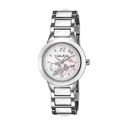 HELLO KITTY 凱蒂貓 甜美簡約陶瓷手錶-白x白銀/32mm