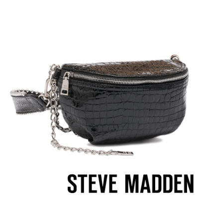 STEVE MADDEN-BMANDIE 時尚金屬鍊條壓紋個性腰包-黑色