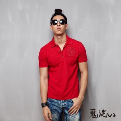 鬼洗 BLUE WAY - 鬼頭貼布繡短袖polo衫(紅色)