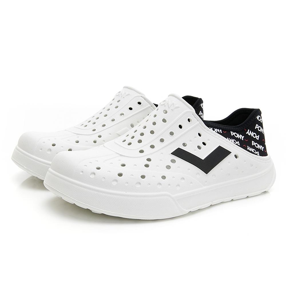 【PONY】ENJOY系列洞洞鞋-中性款-白/LOGO印花