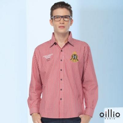 oillio歐洲貴族 長袖襯衫 細膩線條 特色圖標 紅色