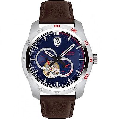 FERRARI 法拉利競速快感鏤空機械錶-黑/44mm FA0830443
