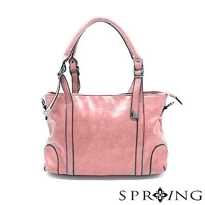 SPRING-華麗的光澤托特包-優雅粉