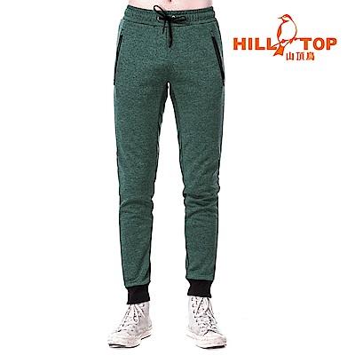 【hilltop山頂鳥】男款刷毛保暖長褲H31ML0黑綠