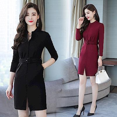 氣質圓領微V腰帶顯瘦開衩洋裝連身裙M-2XL(共二色)-REKO