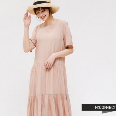 H:CONNECT 韓國品牌 女裝 -自然抓皺長洋裝-粉色
