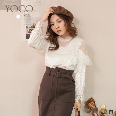東京著衣-YOCO 華麗熱賣多層蕾絲鏤空雕花絨布上衣