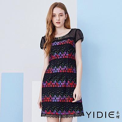 【YIDIE衣蝶】繽紛小花朵蕾絲網紗短洋裝