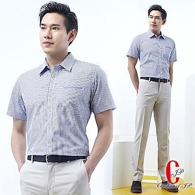 Christian 品味紳士交錯格紋休閒襯衫_白底丈青(RS702-58)
