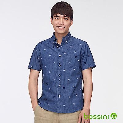 bossini男裝-丹寧印花短袖襯衫牛仔藍