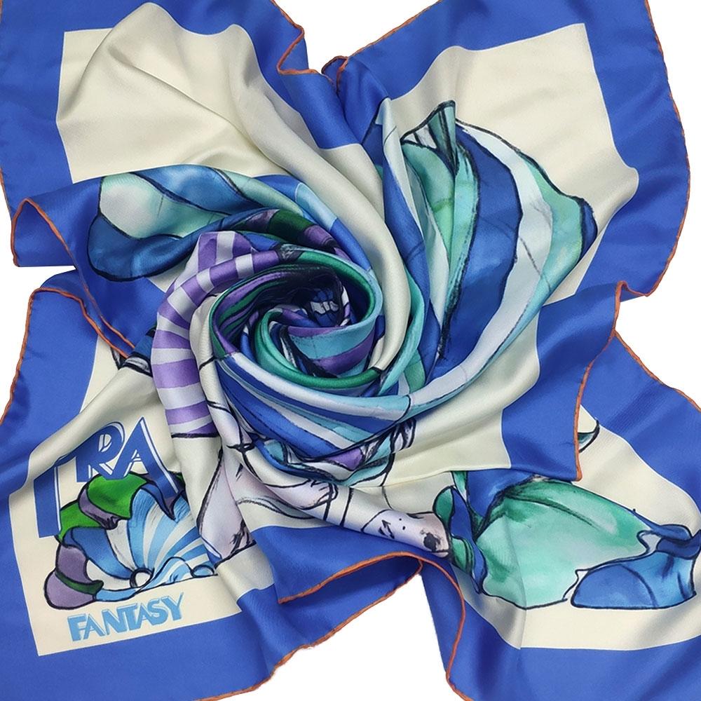 PRADA 義大利製優雅夢想圖騰字母LOGO造型正方絲巾(藍色系)
