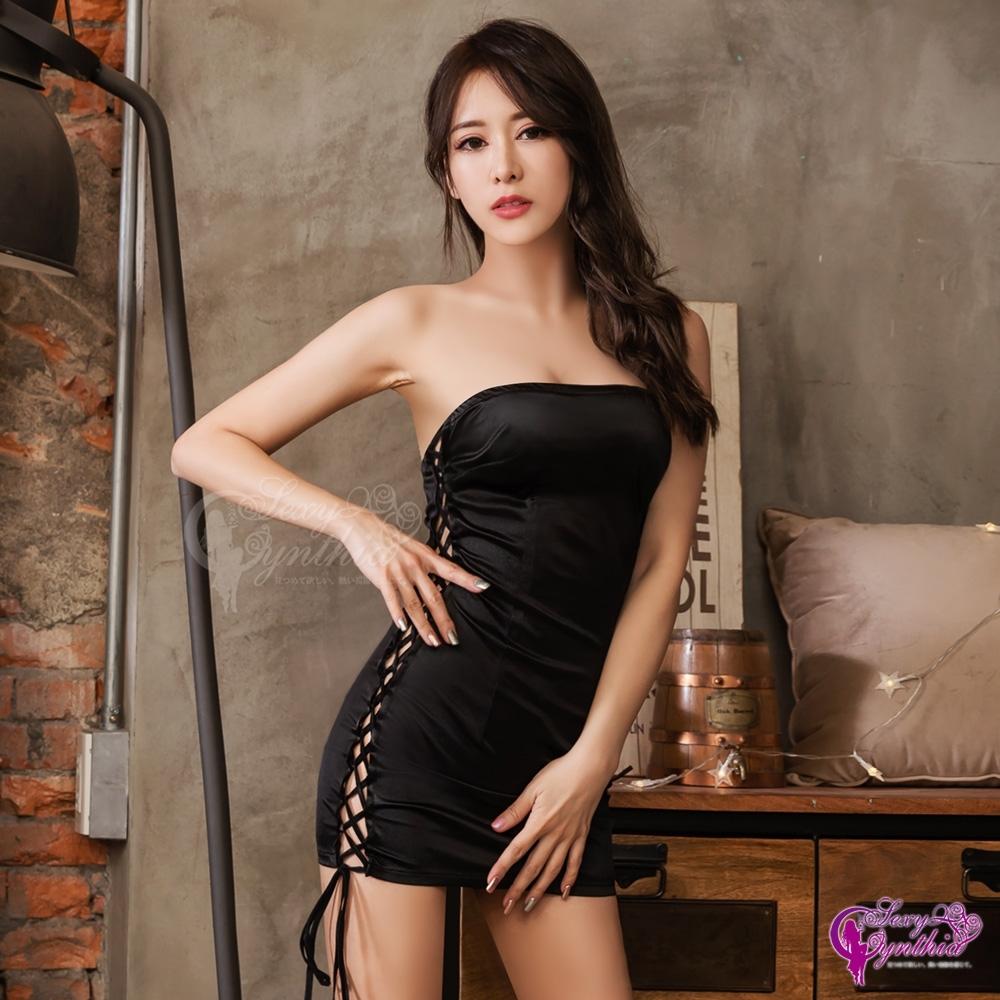 Sexy Cynthia 角色扮演 黑色平口側邊縷空連身裙賽車女郎角色扮演服-黑F
