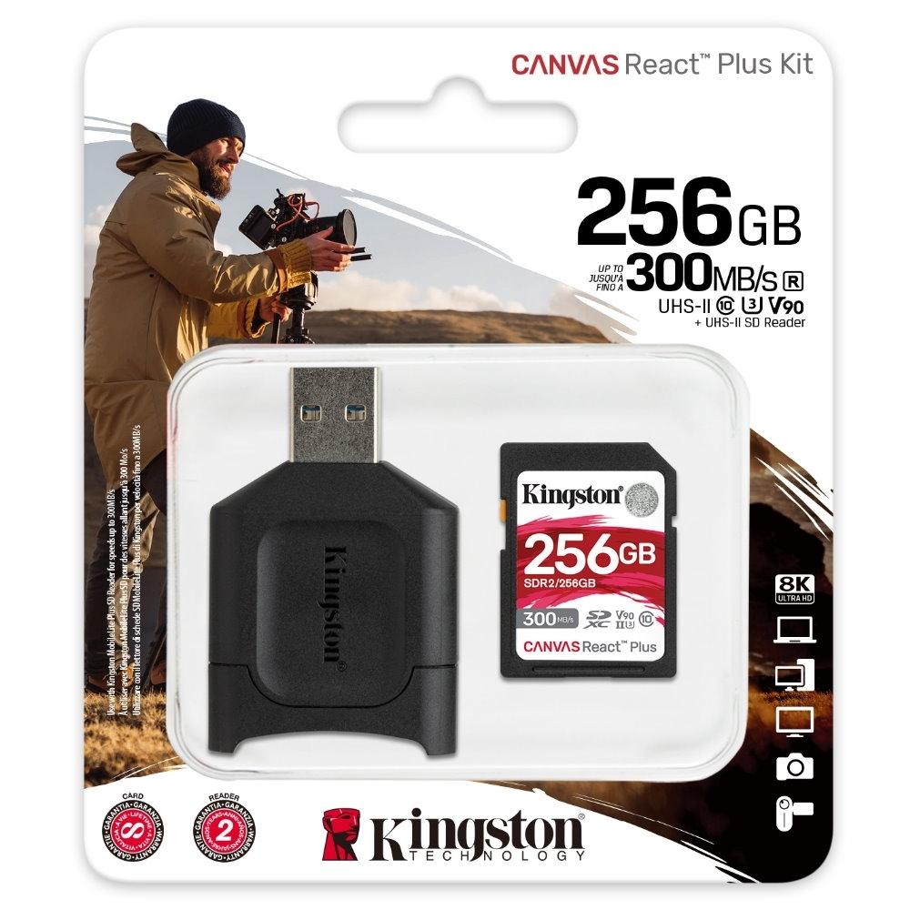 金士頓 MLPR2 SDXC 300MB UHS-II 256G CANVAS React Plus Kit 記憶卡+讀卡機 MLPR2/256GB