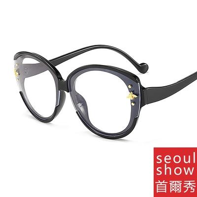 seoul show首爾秀 G牌金色小蜜蜂防藍光UV400老花近視可換片平光眼鏡 5124
