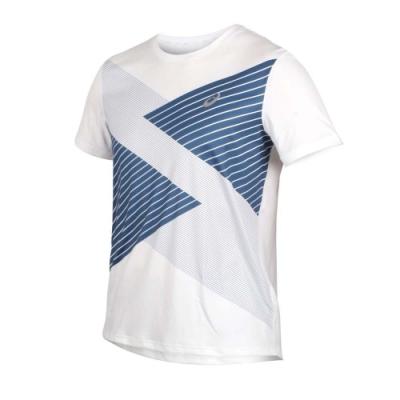 ASICS 男 TOKYO短袖T恤 白深藍