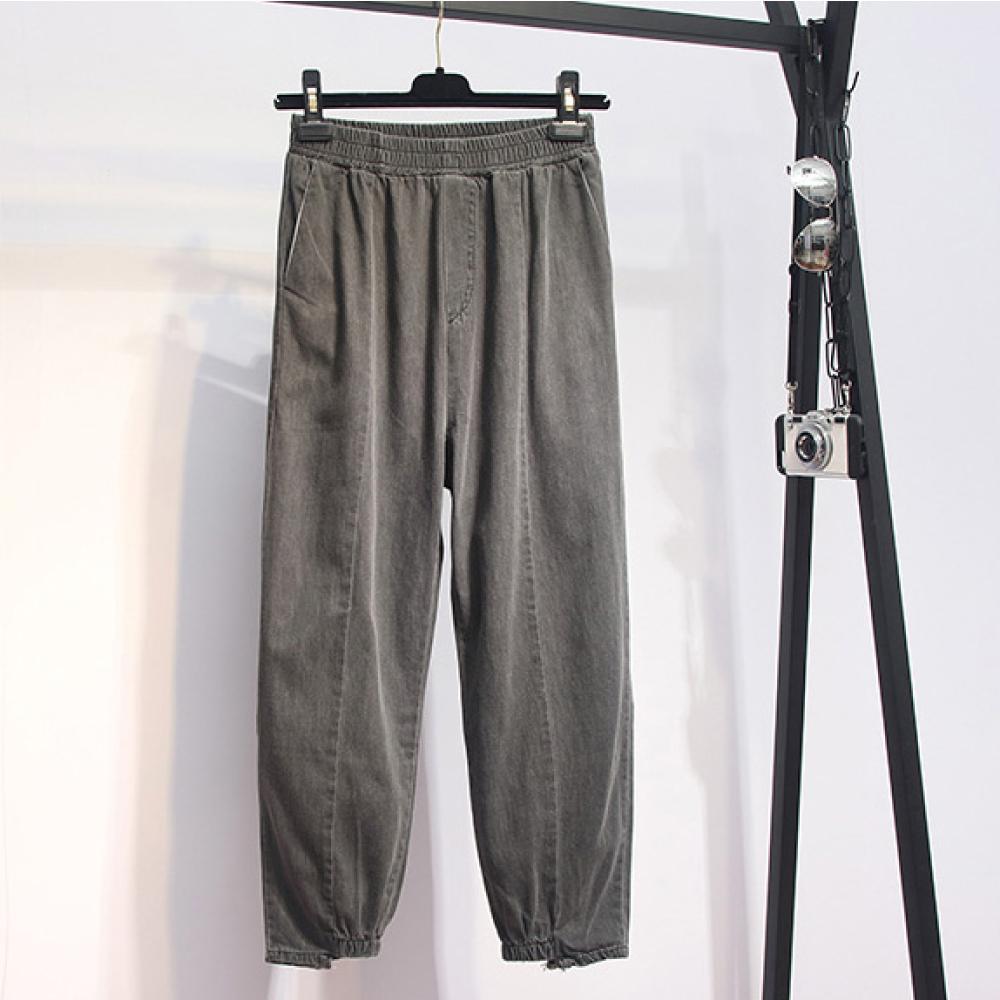中大尺碼素色鬆緊腰圍下擺縮口水洗車線牛仔褲XL~4L-Ballet Dolly