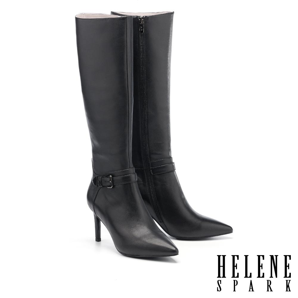 長靴 HELENE SPARK 都會摩登金屬釦帶全真皮尖頭美型高跟長靴-黑