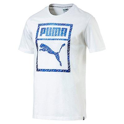 PUMA-男性流行系列Puma Logo Box短袖T恤-白色-亞規