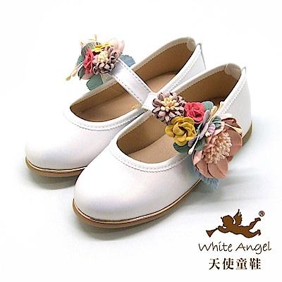 天使童鞋 花漾小花園公主鞋(中-大童) J8006-白