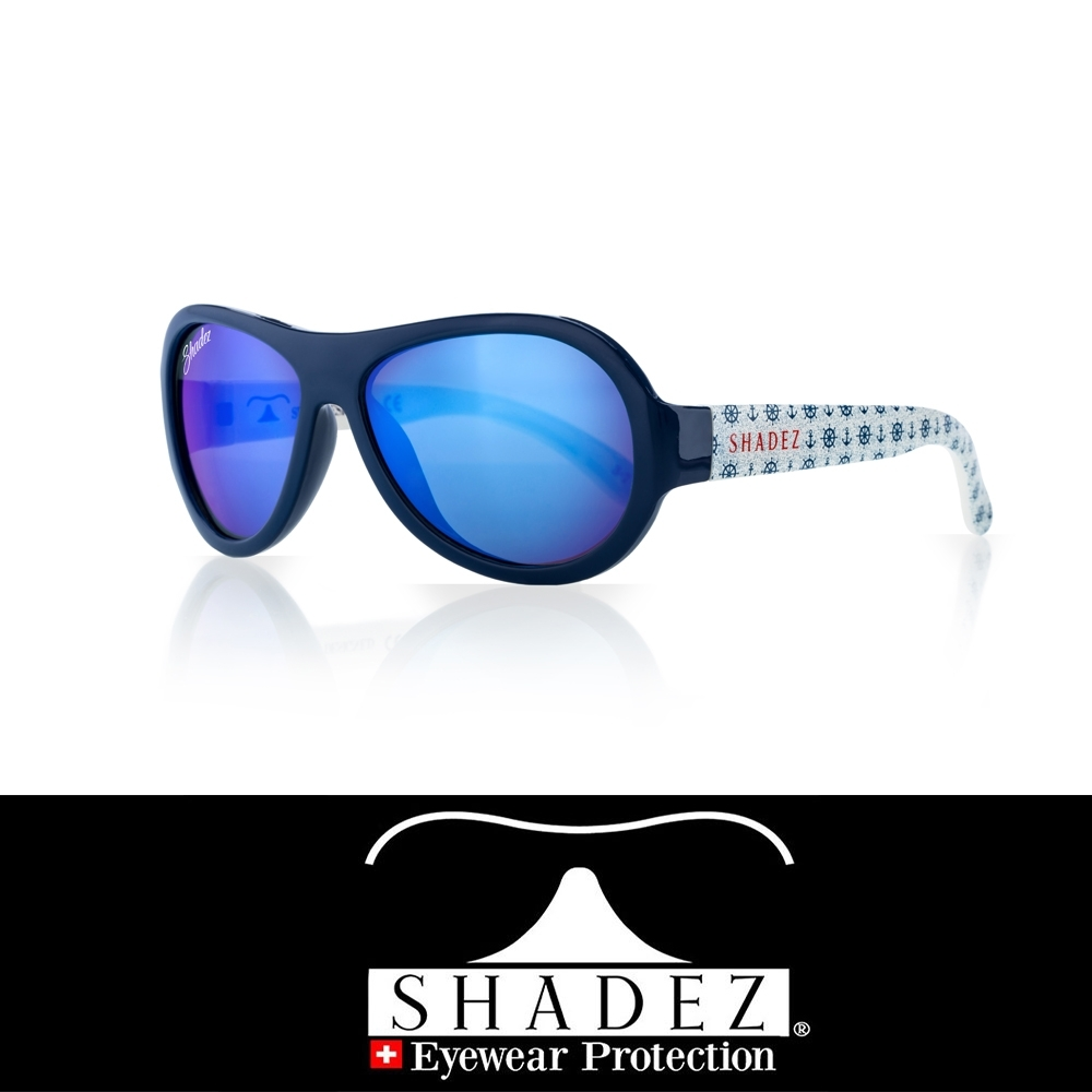 【瑞士SHADEZ】兒童太陽眼鏡 藍白船錨 3-7歲