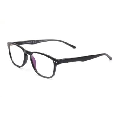 【 Z·ZOOM 】 老花眼鏡/平光眼鏡 抗藍光防護系列 知性矩形細框款(黑色)