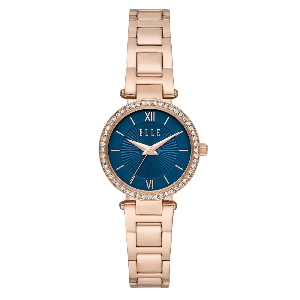 ELLE Muette光線閃耀晶鑽腕錶-藍X玫瑰金(ELL25015)/28mm