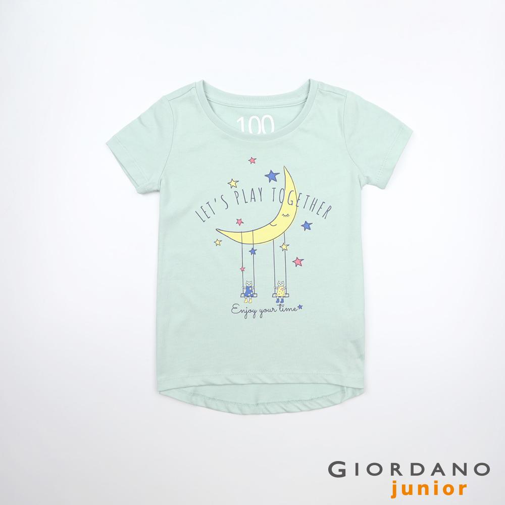 GIORDANO 童裝夢幻童話印花純棉T恤-43 海港灰綠 @ Y!購物