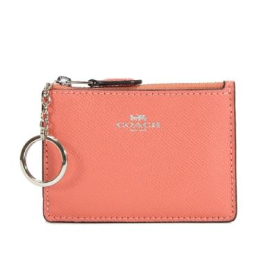 COACH 防刮皮革拉鍊證件零錢鑰匙包(珊瑚)