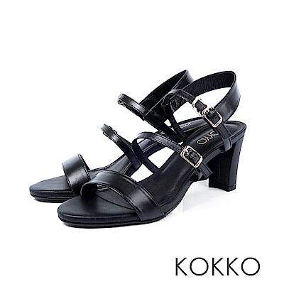 KOKKO - 極度簡約一字細帶粗跟真皮涼鞋 - 濃蜜黑