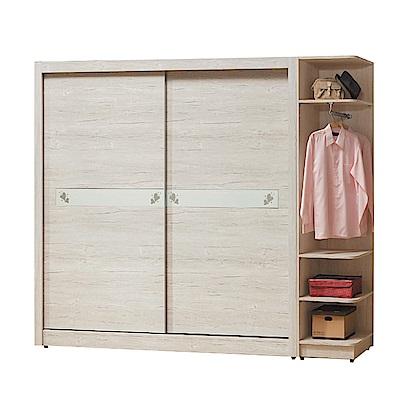 綠活居 馬波亞8.6尺木紋推門衣櫃/收納櫃組(吊衣桿+抽屜)-258X60X202cm免組