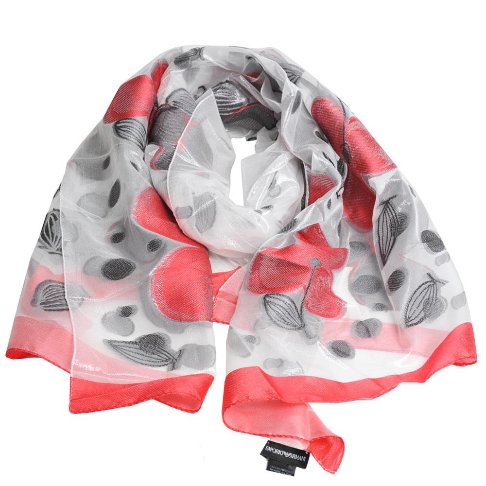 EMPORIO ARMANI 義大利製繽紛櫻桃造型薄絲巾(銀灰/紅)