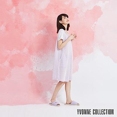 YVONNE 緹花條紋拼接短袖洋裝-淺紫