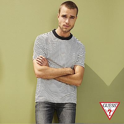 GUESS-男裝-素色細條紋圓領短T,T恤-白
