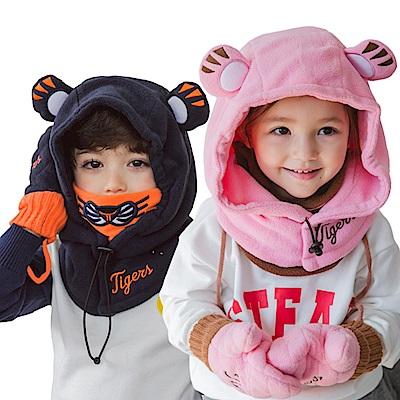 韓版 秋冬卡通老虎造型保暖護頸連頭帽-二色可選