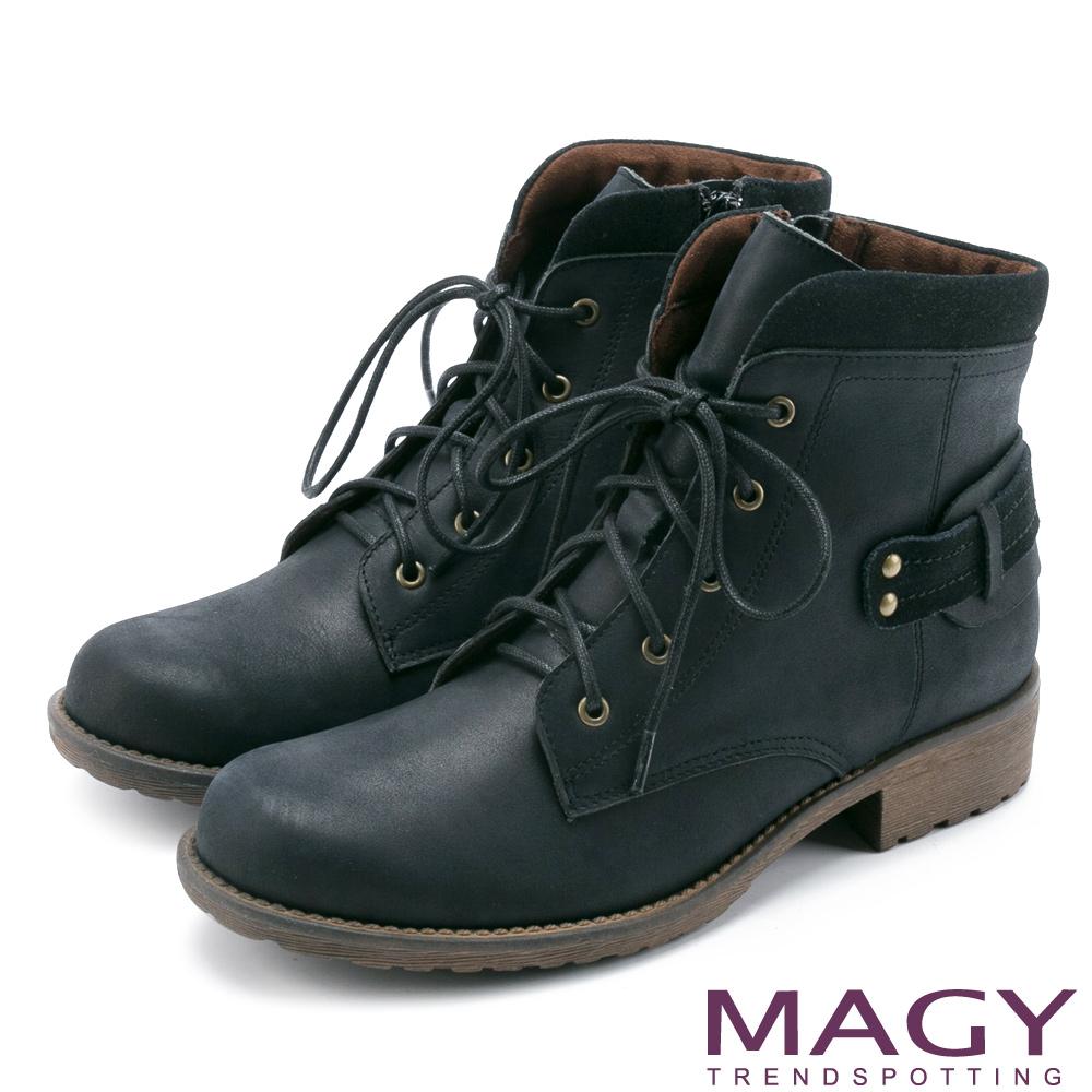 MAGY 嚴選真皮帥氣綁帶 女 短靴 黑色