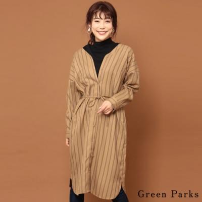 Green Parks 氣質前扣式腰際綁帶V領洋裝