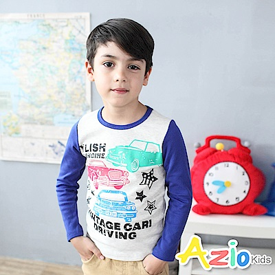 Azio Kids 上衣 美式車子星星字母印花長袖棒球T恤(藍/杏)