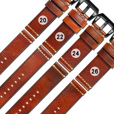 Watchband / 各品牌通用百搭款經典復刻厚實柔軟牛皮錶帶-咖啡紅
