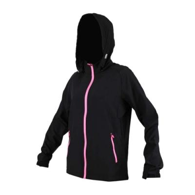 SOFO 女彈力布外套-路跑 慢跑 連帽外套 立領 可拆帽 黑粉紅