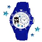Sanrio三麗鷗偏機芯貼鑽系列運動彩帶錶-XO酷企鵝40mm藍色