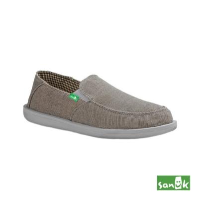SANUK 男款 US9 騎士系列內格紋懶人鞋(灰色)