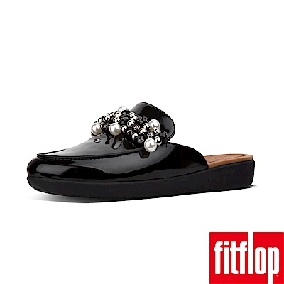 FitFlop SERENE DECO PATENT MULES-黑色