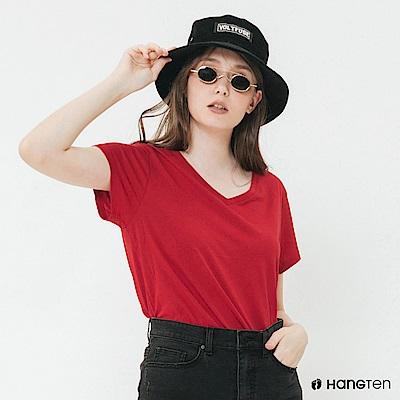 Hang Ten - 女裝 - 純色V領棉質短T桖 - 紅