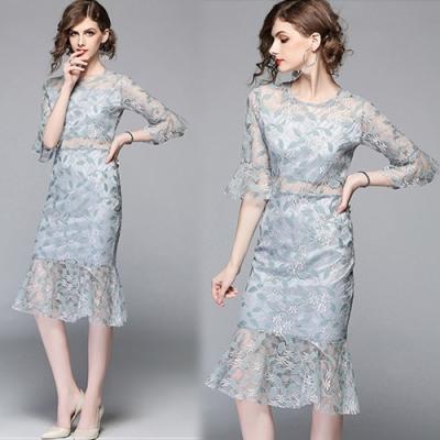 【KEITH-WILL】時尚喇叭袖碎花蕾絲魚尾裙