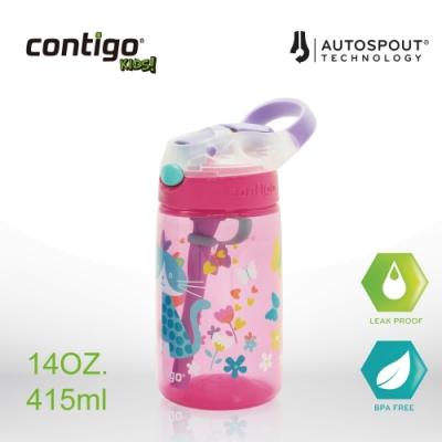 美國CONTIGO 兒童吸管瓶 14oz/414cc (貓咪)