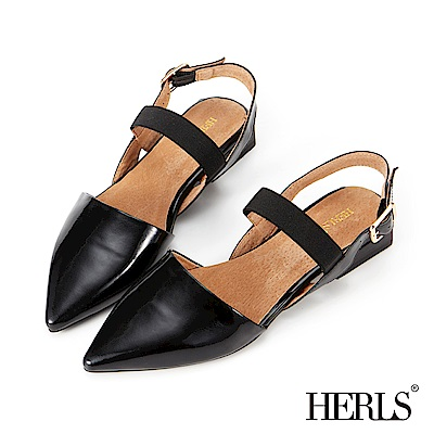 HERLS 都會摩登 全真皮亮面尖頭平底涼鞋-黑色