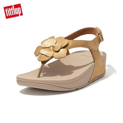 FitFlop LULU CORSAGE TOE-POST BACK-STRAP SANDALS麂皮花朵後帶涼鞋-女(復古金)